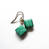 Square Malachite and Gold Dangle and Drop Earrings