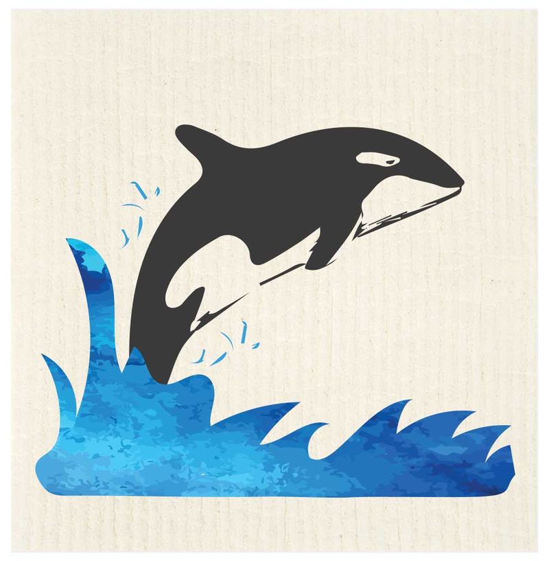 Jumping Orca Swedish Dishcloth