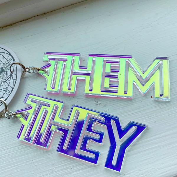 They Them Holographic Recycled Acrylic Earrings