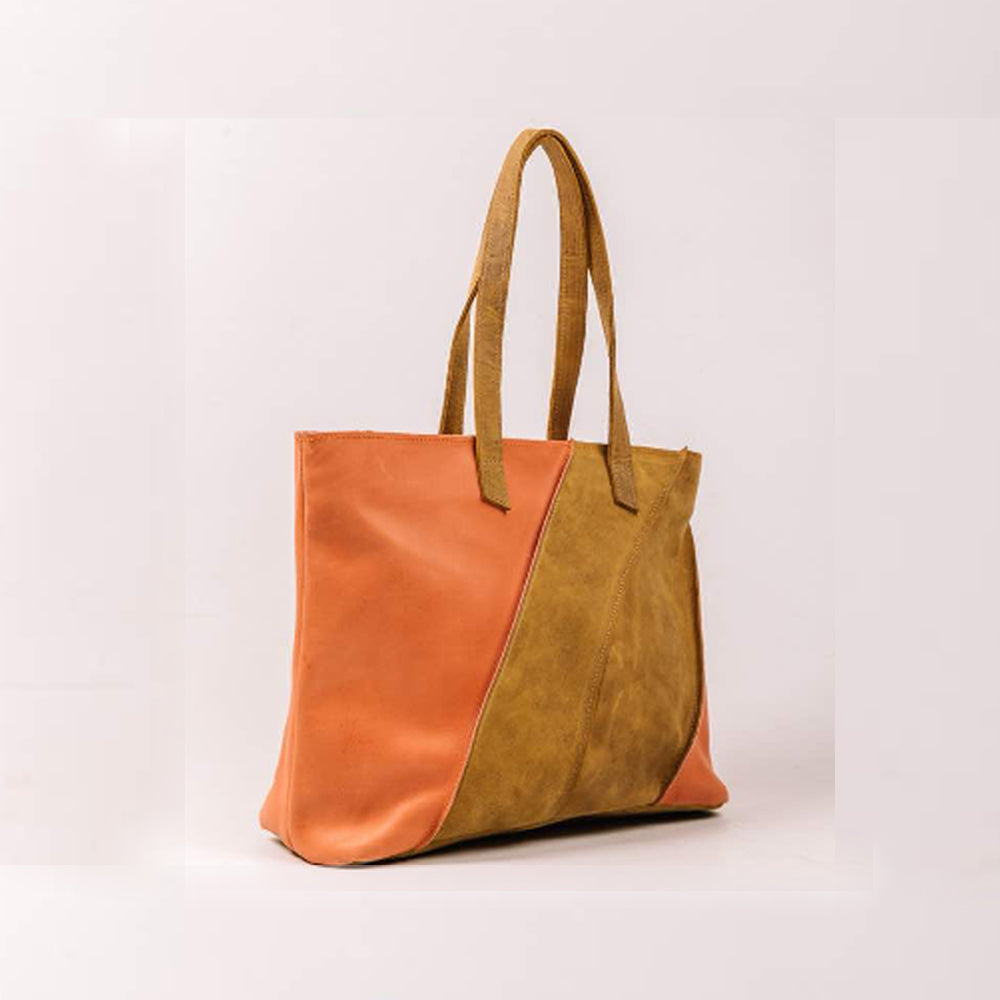 Pink & Camel Leather Tote Bag