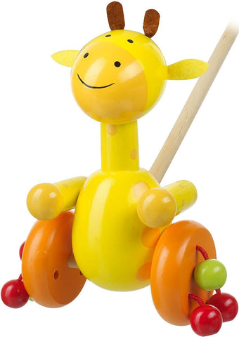 Orange Tree Toys Push Along Wooden Giraffe