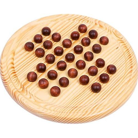 Wooden Marble Solitaire Board Game