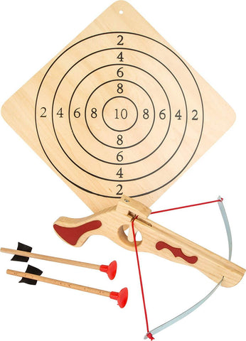 Childrens Wooden Toy Crossbow & Target