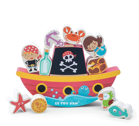 Le Toy Van Wooden Pirate ship stacking toy