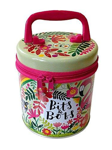Rachel Ellen Tropical Flamingo Round Bits & Bobs Zipped Tin