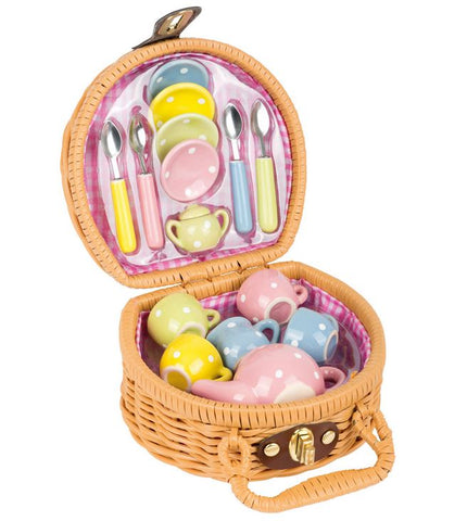 Legler Dotted Mini Tea Party Picnic Basket