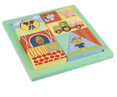 Orange Tree Toys Farm Animals Block Puzzle