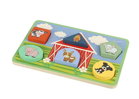 Orange Tree Toys Farm Animals Shape Puzzle