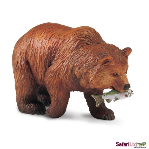 Grizzly Bear with Fish Miniature