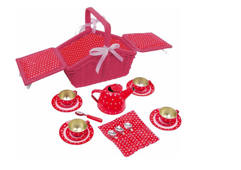 Legler Red and White Dotted Picnic Basket Set
