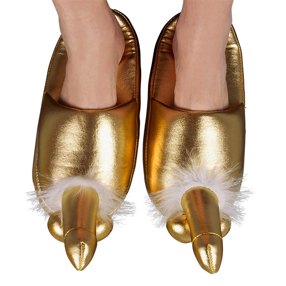 Golden Penis Slippers - kinkydiva-com