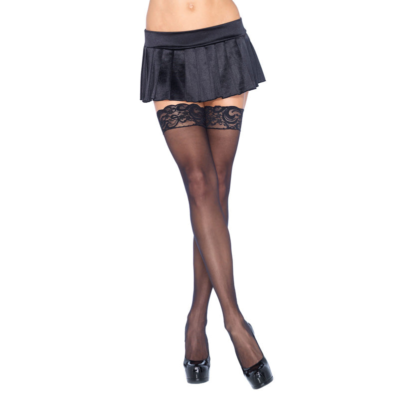Leg Avenue Sheer Thigh Highs With Lace Tops Black UK 8 to 14 - kinkydiva-com