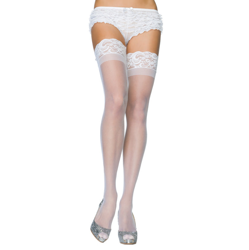 Leg Avenue Stay Up Sheer Thigh Hold Ups White  UK 8 to 14 - kinkydiva-com