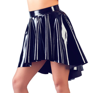 Black Vinyl Asymmetrical Rock Skirt - kinkydiva-com