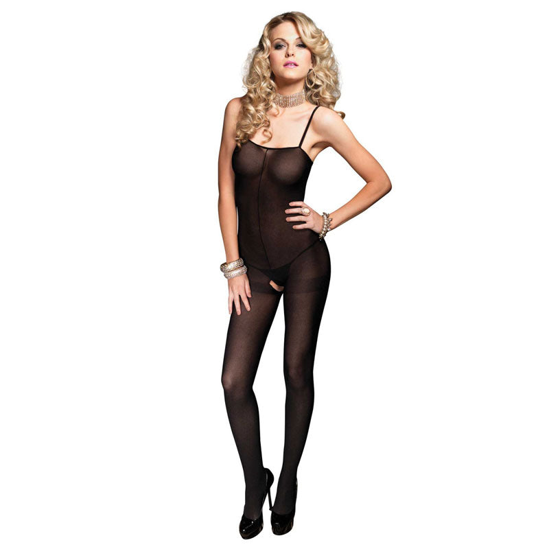 Leg Avenue Open Crotch Opaque Bodystocking UK 8 to 14 - kinkydiva-com