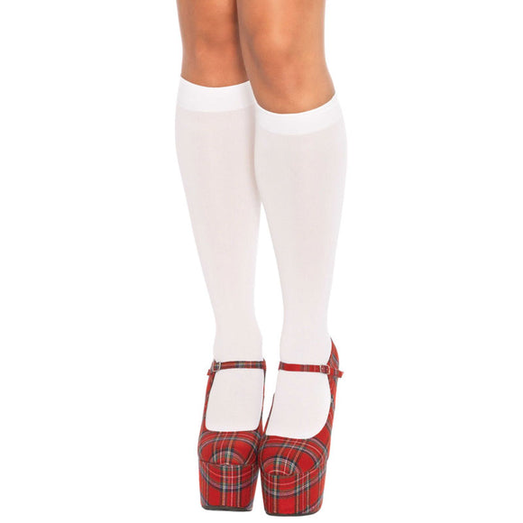 Leg Avenue Nylon Knee Highs White UK 8 to 14 - kinkydiva-com