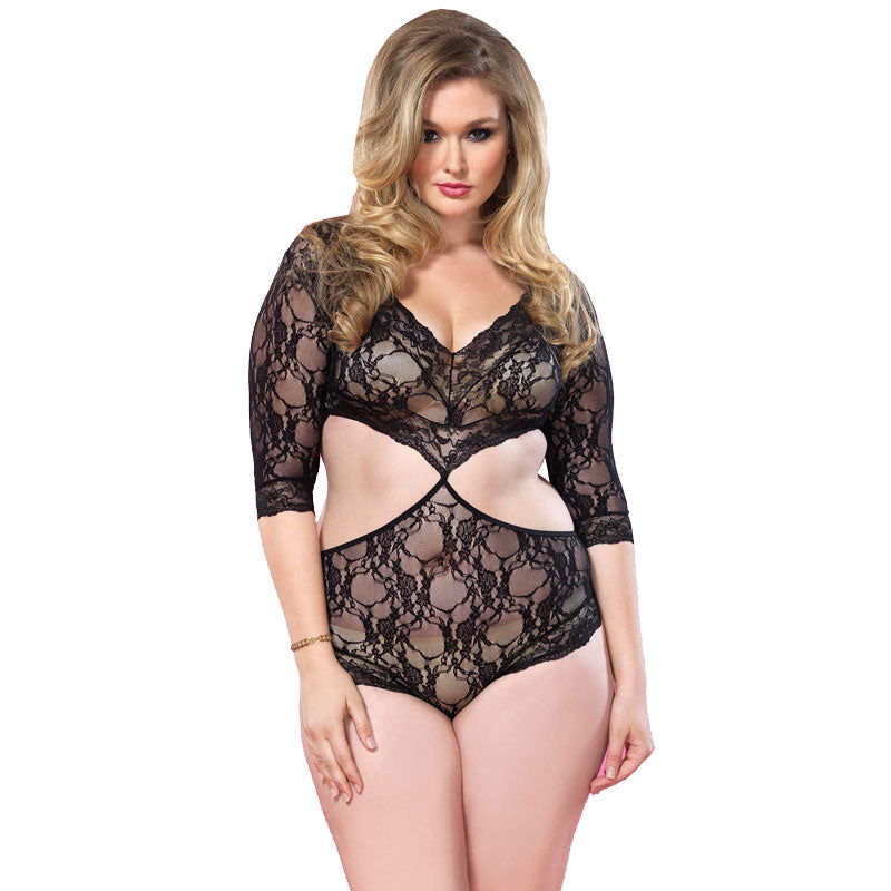 Leg Avenue Cut Out Floral Lace Teddy UK 16 to 18 - kinkydiva-com