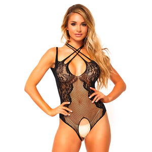 Leg Avenue Net And Lace Crotchless Teddy UK 8 to 14 - kinkydiva-com