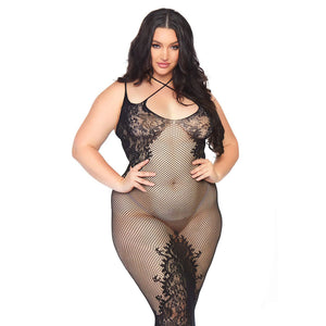 Leg Avenue Dual Strap Halter Dress Plus Size UK 18 to 22 - kinkydiva-com