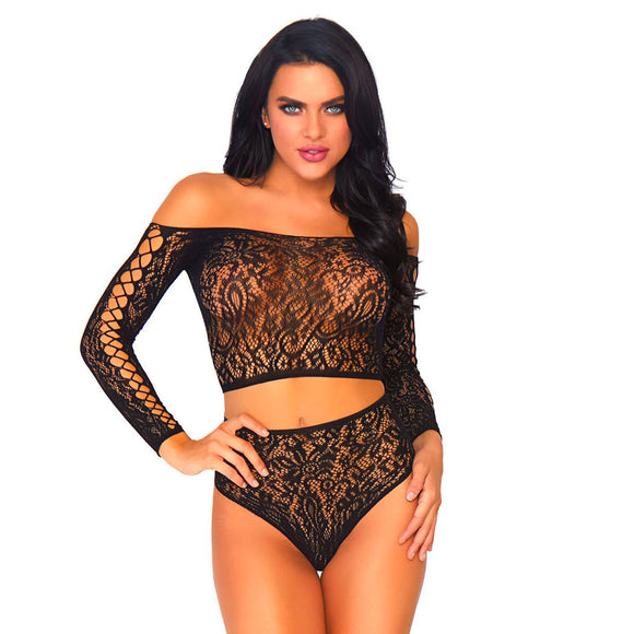 Leg Avenue 2 Piece Lace Top And Thong One Size 8 to 14 - kinkydiva-com