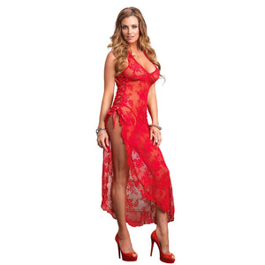 Leg Avenue 2 Piece Rose Lace Long Dress With Lace Side Red - kinkydiva-com