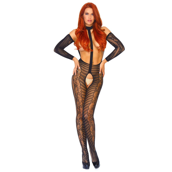 KinkyDiva Leg Avenue Reversible Long Sleeved Bodystocking UK 814 £36.99