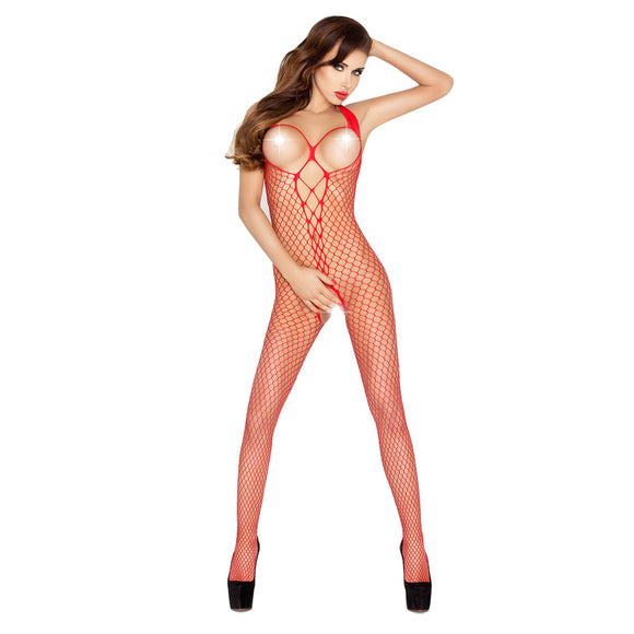 Passion Open Crotch And Breast Fishnet Body Stocking Red