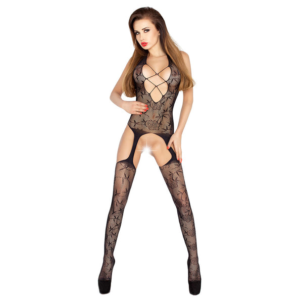 Passion Open Crotch Criss Cross Front Body Stocking Black - kinkydiva-com