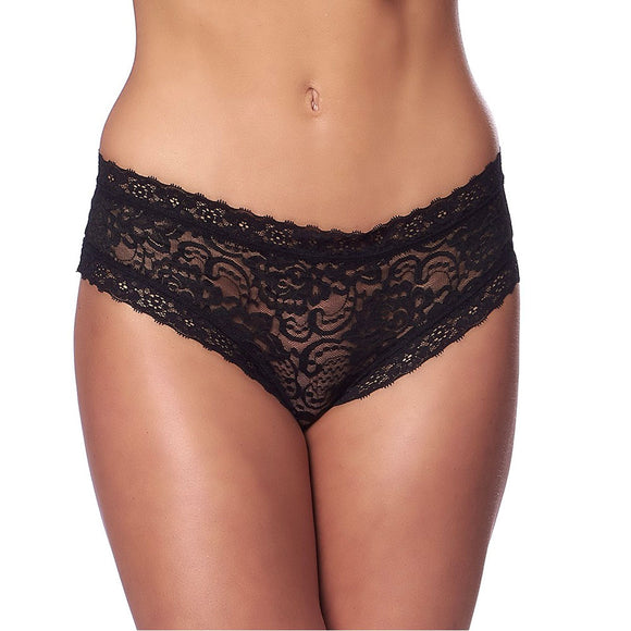 Romantic Black Open Back Briefs - kinkydiva-com