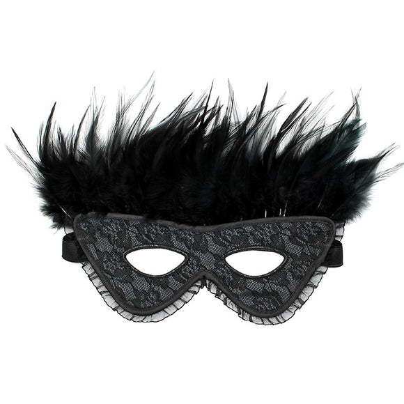Satin Look Feather Mask - kinkydiva-com