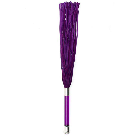 Purple Suede Flogger With Glass Handle And Crystal - kinkydiva-com