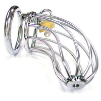 Rouge Stainless Steel Chasity Cock Cage With Padlock - kinkydiva-com