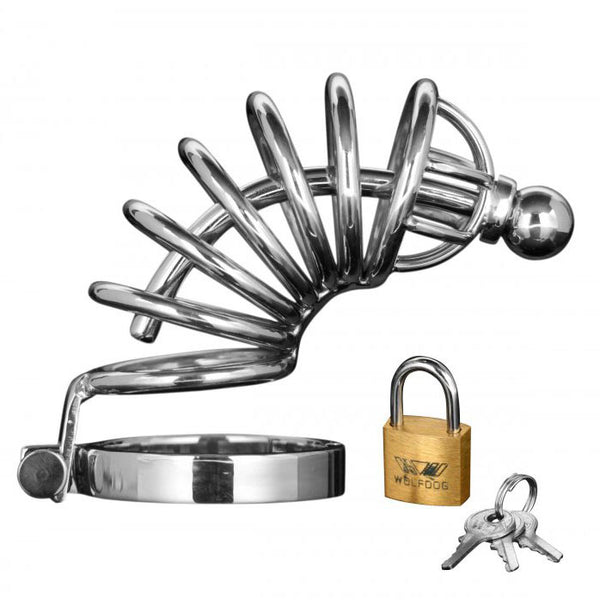 Asylum 6 Ring Locking Chastity Cage - KinkyDiva
