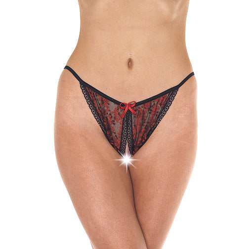 Red And Black Tanga Open Brief - kinkydiva-com