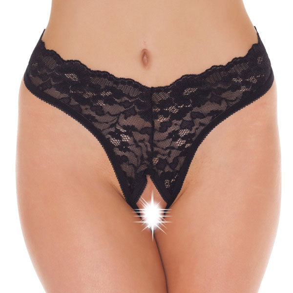 Black Lace Open Crotch GString - KinkyDiva