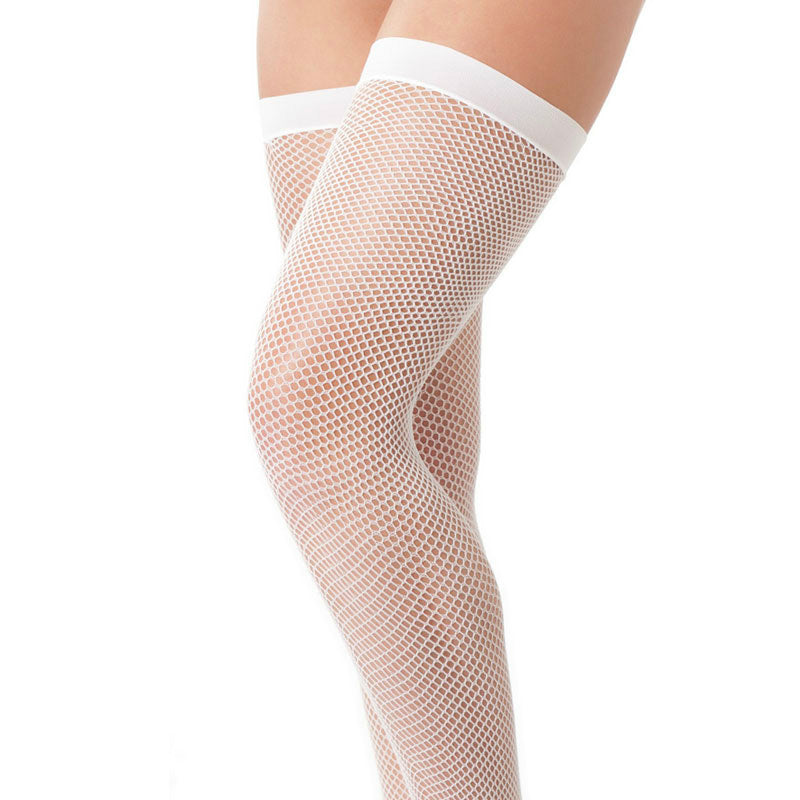 White Fishnet Stockings - kinkydiva-com