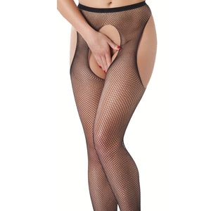 Fishnet Suspender Tights With Open Crotch - kinkydiva-com