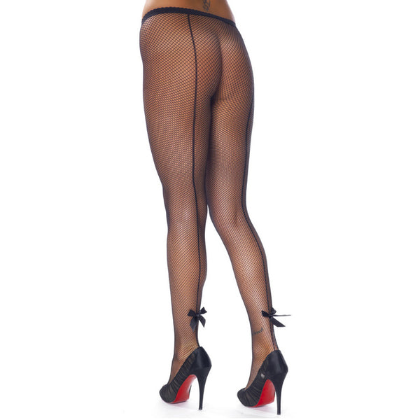 Black Fishnet Tights With Bows - KinkyDiva