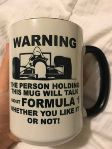 Only $4! Formula 1 Mug **Discounted due to slight fading in blackness of font**