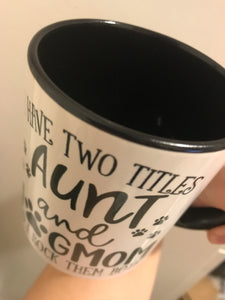 Only $5! **DISCOUNTED** due to fading on bottom letters, Aunt Dog Mom Mug