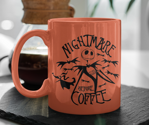 Nightmare Before Coffee Mug | Neon Orange Version