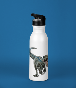 Kids Raptor Double-Sided Custom Name Stainless Steel Water Bottle