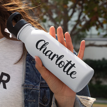 Load image into Gallery viewer, Double-Sided Custom Shadowed Name Stainless Steel Water Bottle with Cute Font