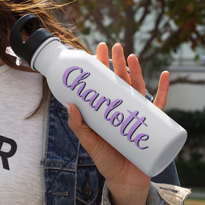 Double-Sided Custom Shadowed Name Stainless Steel Water Bottle with Cute Font