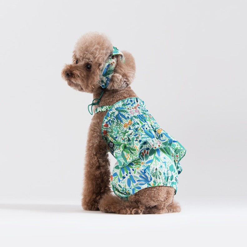 【Sniff】FLORAL ROMPERS(GREEN)
