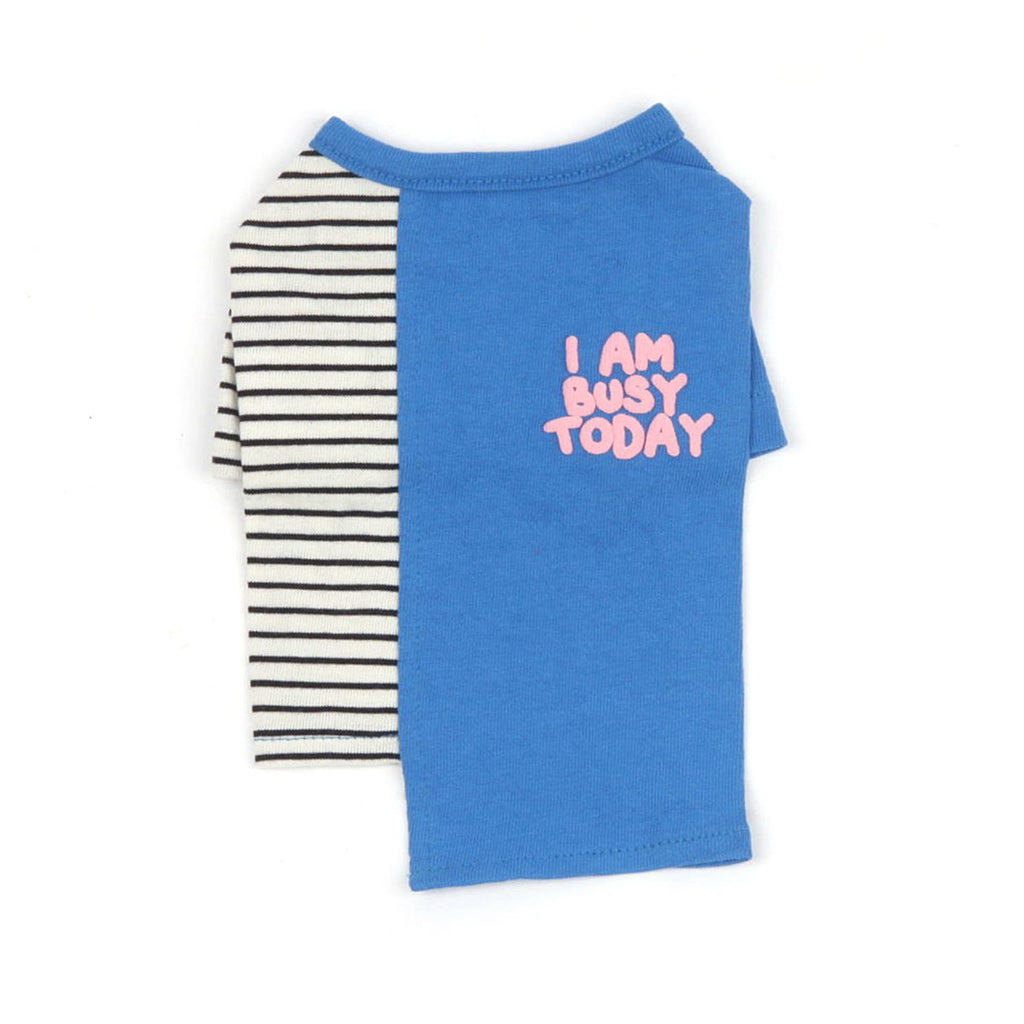 【monchouchou】I AM BUSY TODAY T-shirt(ブルー)