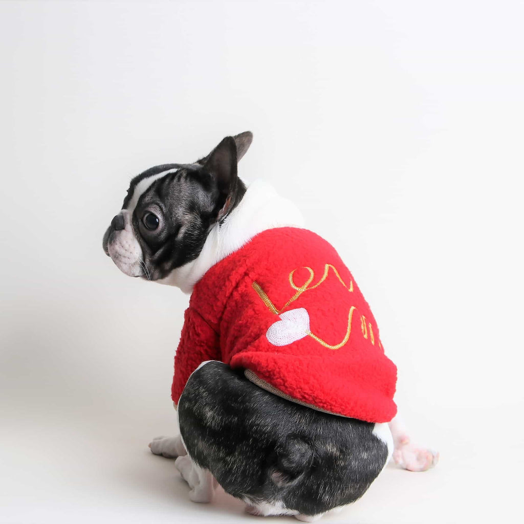 【Grooming Dog】LOVE ME ボアトップス(レッド)