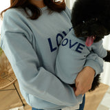 ※予約販売【LOVEMORE】LOVE EMBROIDERY TOPS(ブルー)