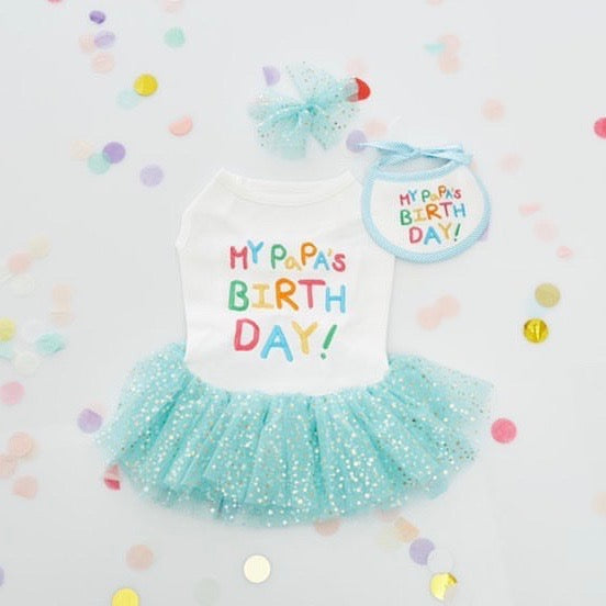 ※予約販売【LOVEMORE】MY PAPA'S BIRTH DAY BIB(ブルー)