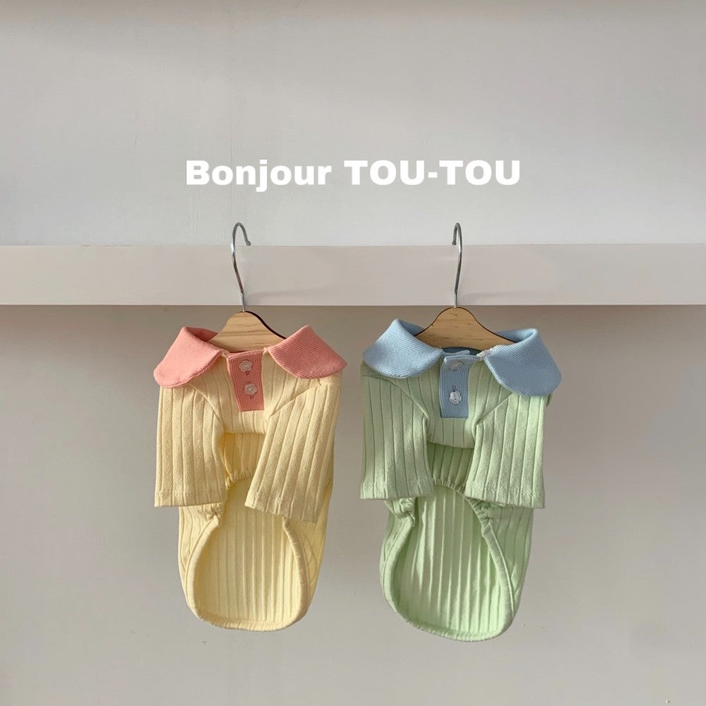 ※予約販売【Bonjour TOU-TOU】flower button collar t-shirt(ミント)